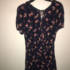xhilaration navy and floral tie back romper